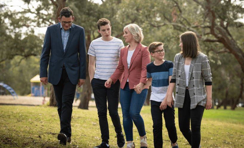 Premier Dan Andrews with his family